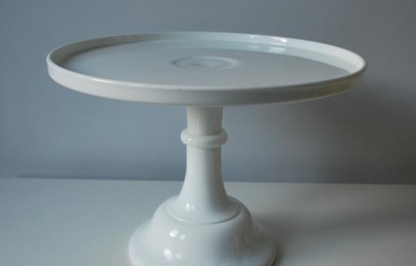 12 Inch White Milk Glass Cake Stand