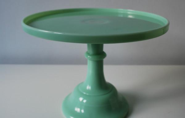 12 Inch Jadeit Green Milk Glass Cake Stand